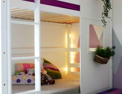 Hausbett für Geschwister, Etagenbett in Haus, Kinder teilen sich ein Zimmer, Kinderzimmer, Einrichtung, Dekoideen Kinderzimmer